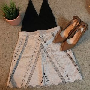 Nude H&M textured mini skirt
